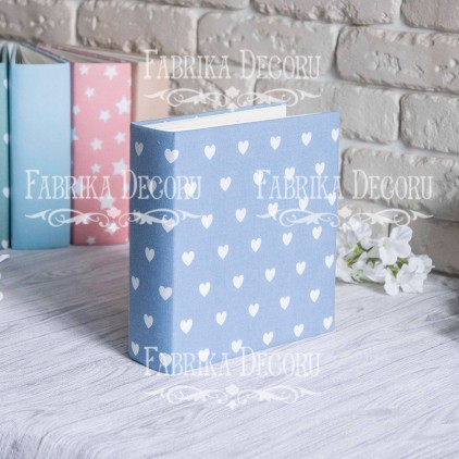 Album base square- Textile - Hearts on blue - 20x20x7 cm - Fabrika Decoru