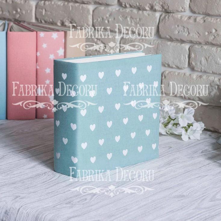 Album base square- Textile - Hearts on mint - 20x20x7 cm - Fabrika Decoru
