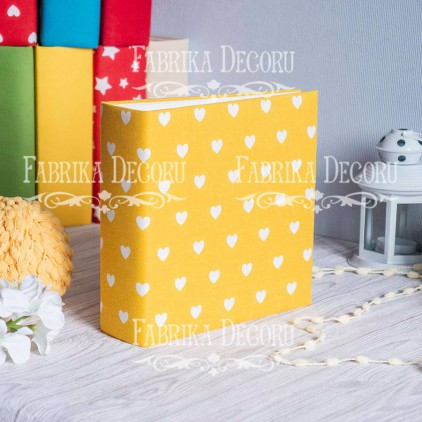 Album base square- Textile - Hearts on yellow - 20x20x7 cm - Fabrika Decoru
