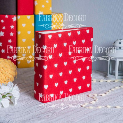 Album base square- Textile - Hearts on red - 20x20x7 cm - Fabrika Decoru