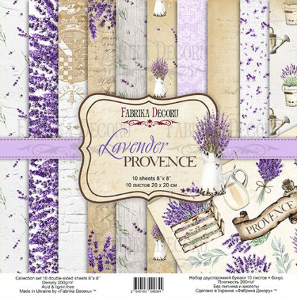 Zestaw papierów do tworzenia kartek i scrapbookingu 20 x 20cm - Fabrika Decoru - Lavender Provence
