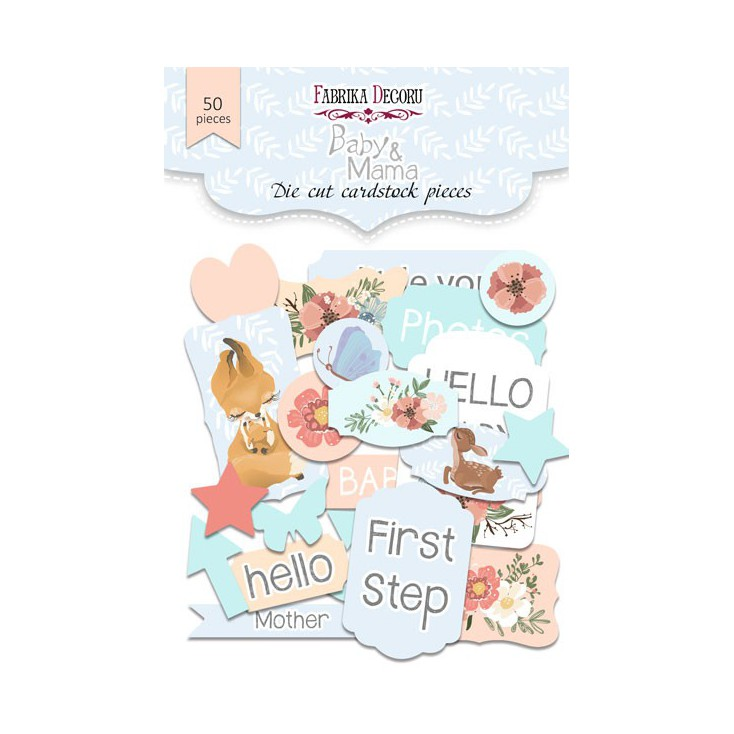 Zestaw papierowych kształtów - Fabrika Decoru - Baby & Mama - 50 części