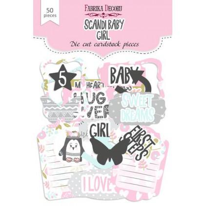 Zestaw papierowych kształtów - Fabrika Decoru - Scandi Baby Girl - 50 części