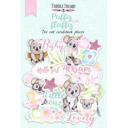 Zestaw papierowych kształtów - Fabrika Decoru - Puffy fluffy girl - 52 części