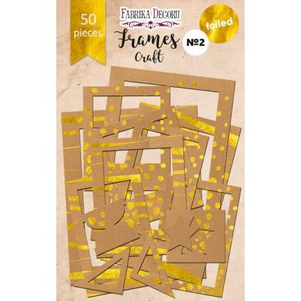 Zestaw papierowych ramek - Fabrika Decoru - Craft ze złoceniami - 50 części