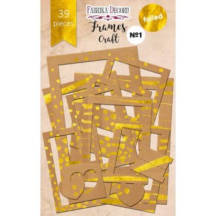 Zestaw papierowych ramek - Fabrika Decoru - Craft ze złoceniami - 39 części