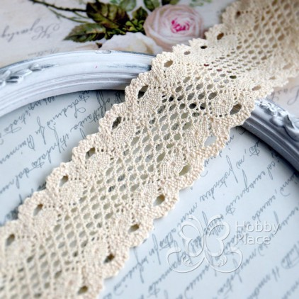 Cotton lace - widh 5cm - white vanilla - 1 meter