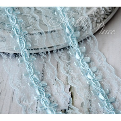 Synthetic lace with roses - widh 4,5cm - baby blue - 1 meter