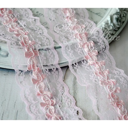 Synthetic lace with roses - widh 4,5cm - baby pink - 1 meter