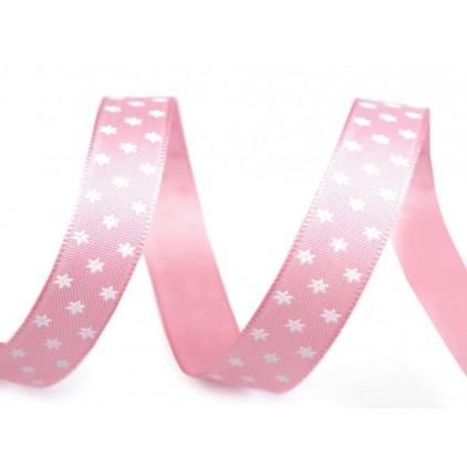 Wstążka - gwiazdki 1,4 cm - 1 metr - różowa