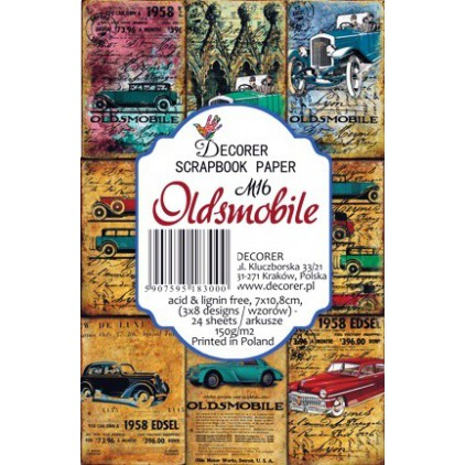 Decorer - Set of mini scrapbooking papers - Oldsmobile