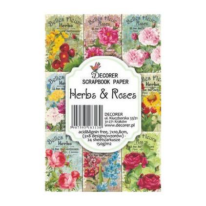Decorer - Zestaw mini papierów do scrapbookingu - Zioła i róże