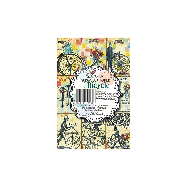 Decorer - Set of mini scrapbooking papers - The Bicycle