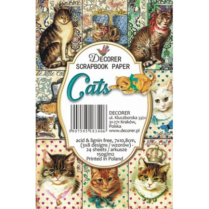 Set of mini scrapbooking papers - Decorer- Cats