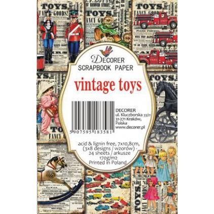 Decorer - Zestaw mini papierów do scrapbookingu - Vintage toys