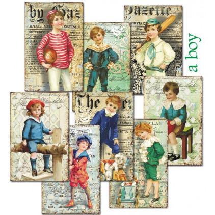 Decorer - Set of mini scrapbooking papers - a boy