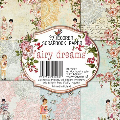 Decorer - Zestaw papierów do scrapbookingu 15x15- fairy dreams