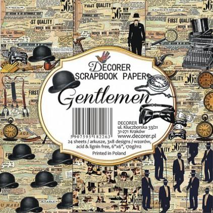 Decorer - Zestaw papierów do scrapbookingu 15x15- Gentelmen