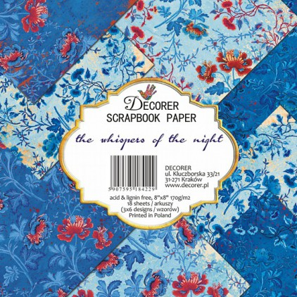 Decorer - Set of scrapbooking papers 20x20 -  the whispers of the night