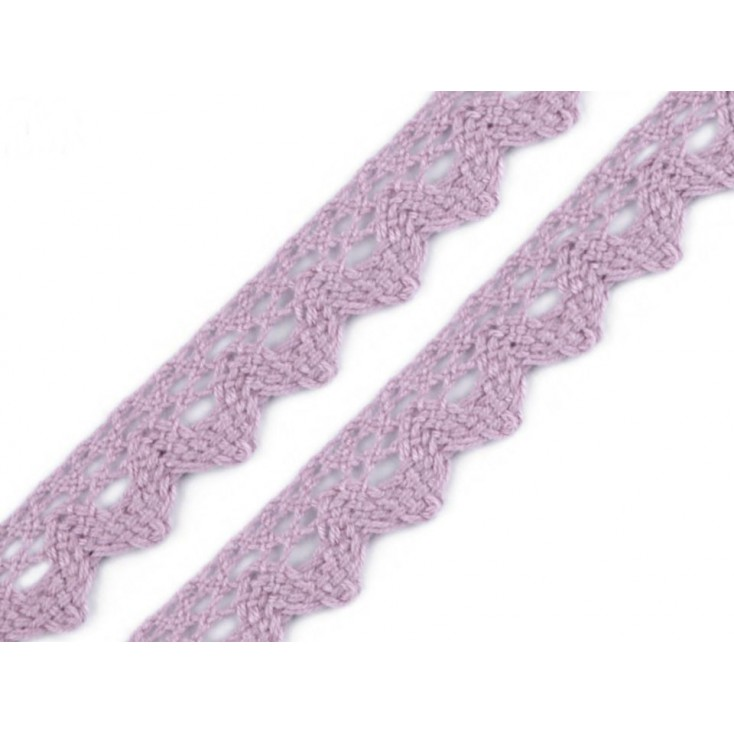 Cotton lace - widh 15mm - subdued heather 29 - 1 meter