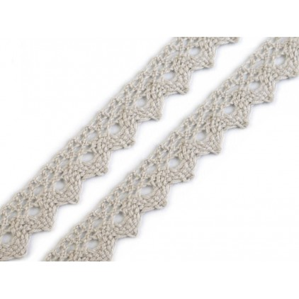 Cotton lace - widh 15mm - light grey 13 1 meter