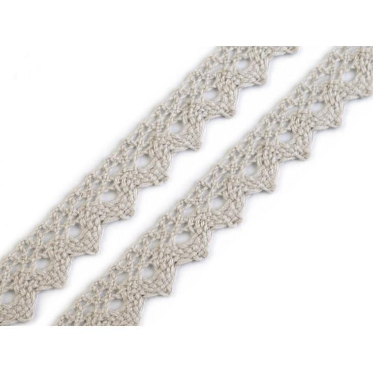 Koronka bawełniana - szerokość 15mm - jasny szary 13- 1 metr