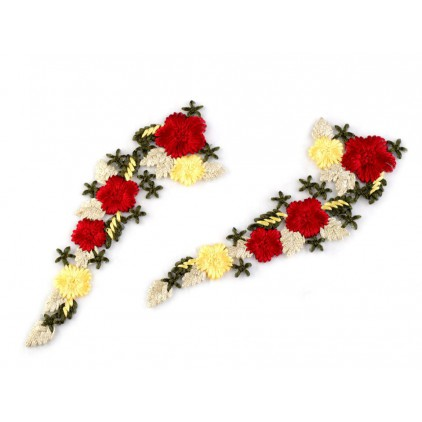 Lace application 964 - red and yellow 02 - 1 pcs.