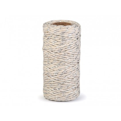Decorative twine ecru with silver thread - Ø1,5mm
