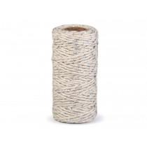 Decorative twine ecru with silver thread - Ø1,5mm
