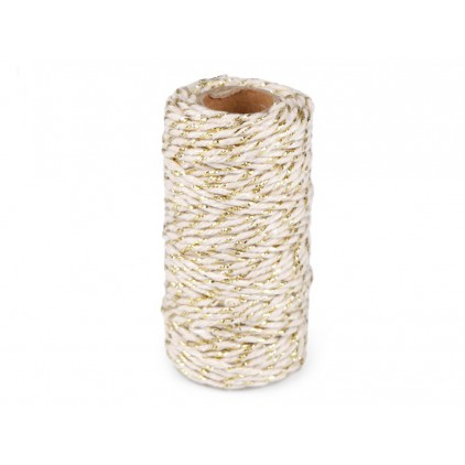 Decorative twine ecru with gold thread - Ø1,5mm