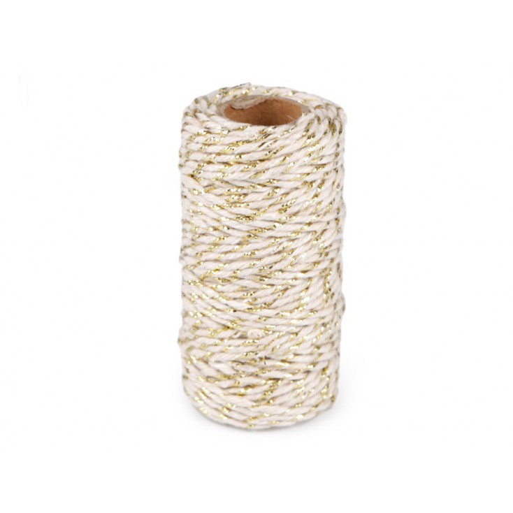 Decorative twine ecru with gold thread - Ø1,5mm - white and gold