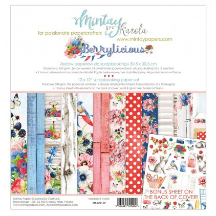 Scrapbooking paper set - Mintay Papers - Berrylicious