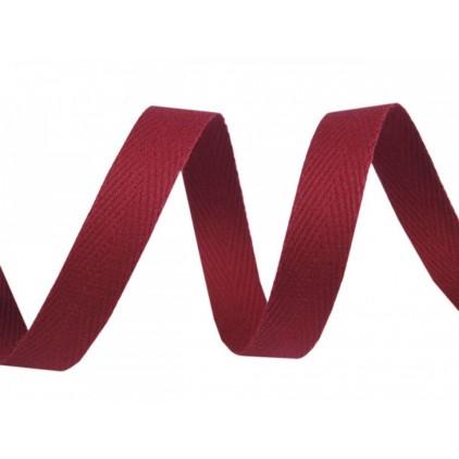 Taśma bawełniana 8550- szerokość 1 cm - 1 metr - burgundowa