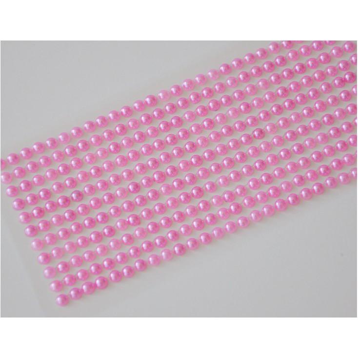 Samoprzylepne ozdoby - półperełki 4mm - różowe