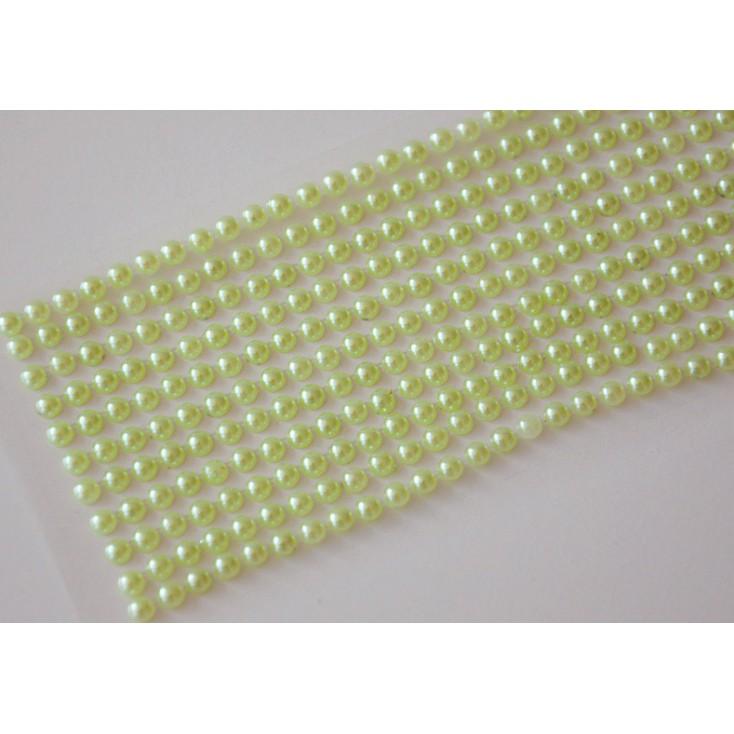 Selfadhesive decorations - half-pearls 4mm -light green