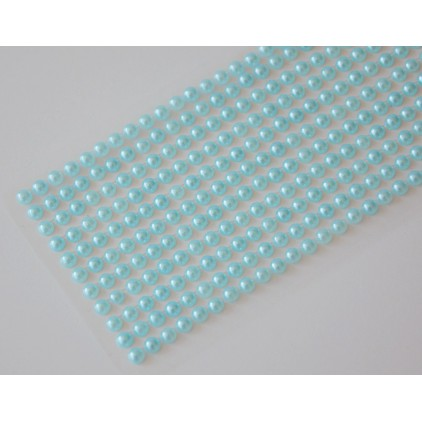 Selfadhesive decorations - half-pearls 4mm - turquoise