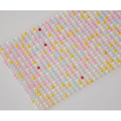 Samoprzylepne ozdoby - półperełki 3mm - kolorowe