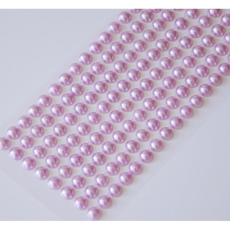 Samoprzylepne ozdoby - półperełki 6mm - liliowe