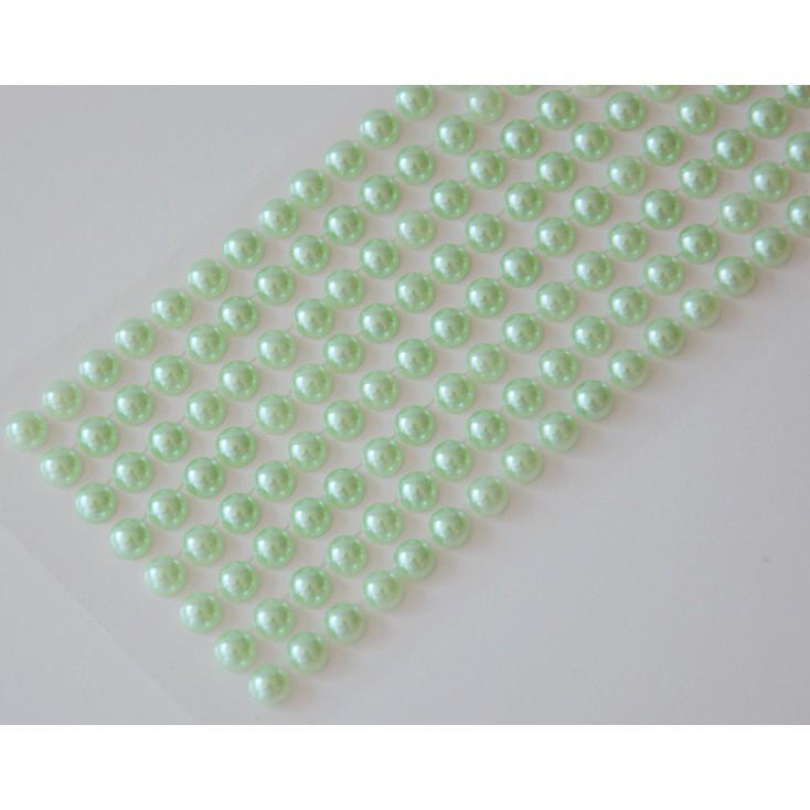 Selfadhesive decorations - half-pearls 6mm - light green
