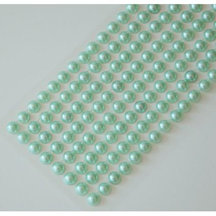 Selfadhesive decorations - half-pearls 6mm - mint