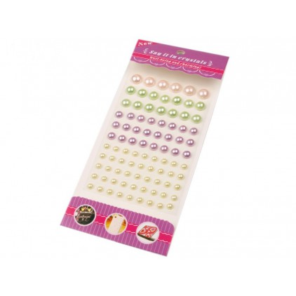 Selfadhesive decorations - half-pearls 6,8,10 i 12 mm - mix of colors