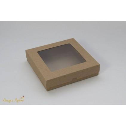 A box for a card with a window, high, square- 15x15x3,5  kraft - Rzeczy z Papieru