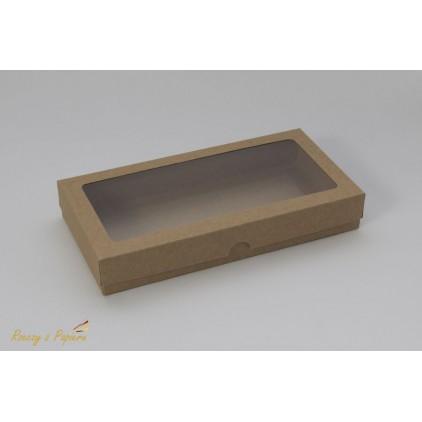 A box for a card DL with a window, high - 11,0 x 22,0 x 3,5  kraft - Rzeczy z Papieru