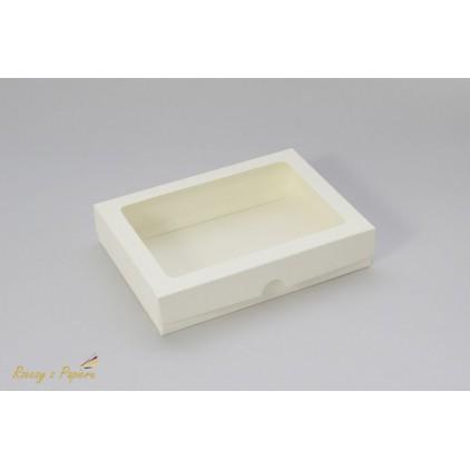 Pudełko na kartkę C6 z okienkiem, niskie 12,4x17,2x3,5 kremowe - Rzeczy z Papieru