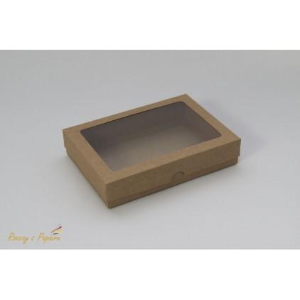 A box for a card C6 with a window, high - 12,4x17,2x3,5  kraft - Rzeczy z Papieru