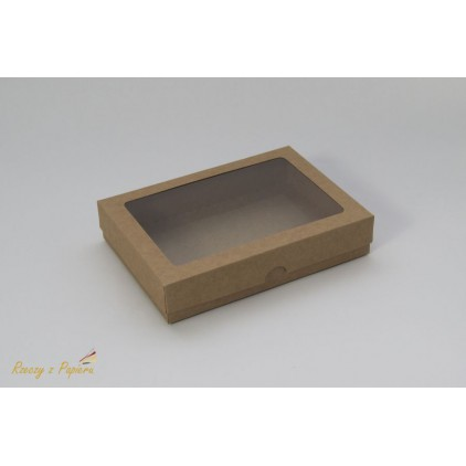 Pudełko na kartkę C6 z okienkiem, wysokie 12,4x17,2x3,5 kraft- Rzeczy z Papieru