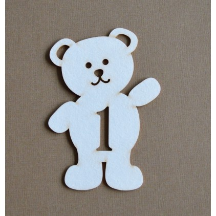 Chipboard - Anemone - Teddy bear with a number 1