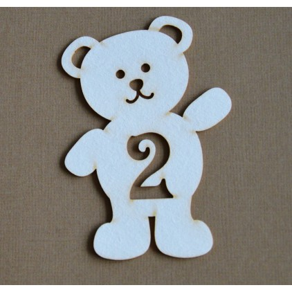 Chipboard - Anemone - Teddy bear with a number 2