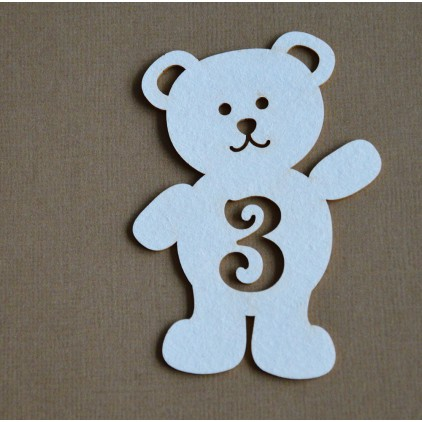 Chipboard - Anemone - Teddy bear with a number 3