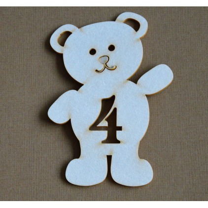 Chipboard - Anemone - Teddy bear with a number 4